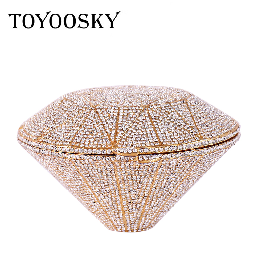 TOYOOSKY Women's Bags diamond shaped Alloy Evening Bag Crystal Geometric Pattern Gold / Silver Wedding Party Clutch bag Purse