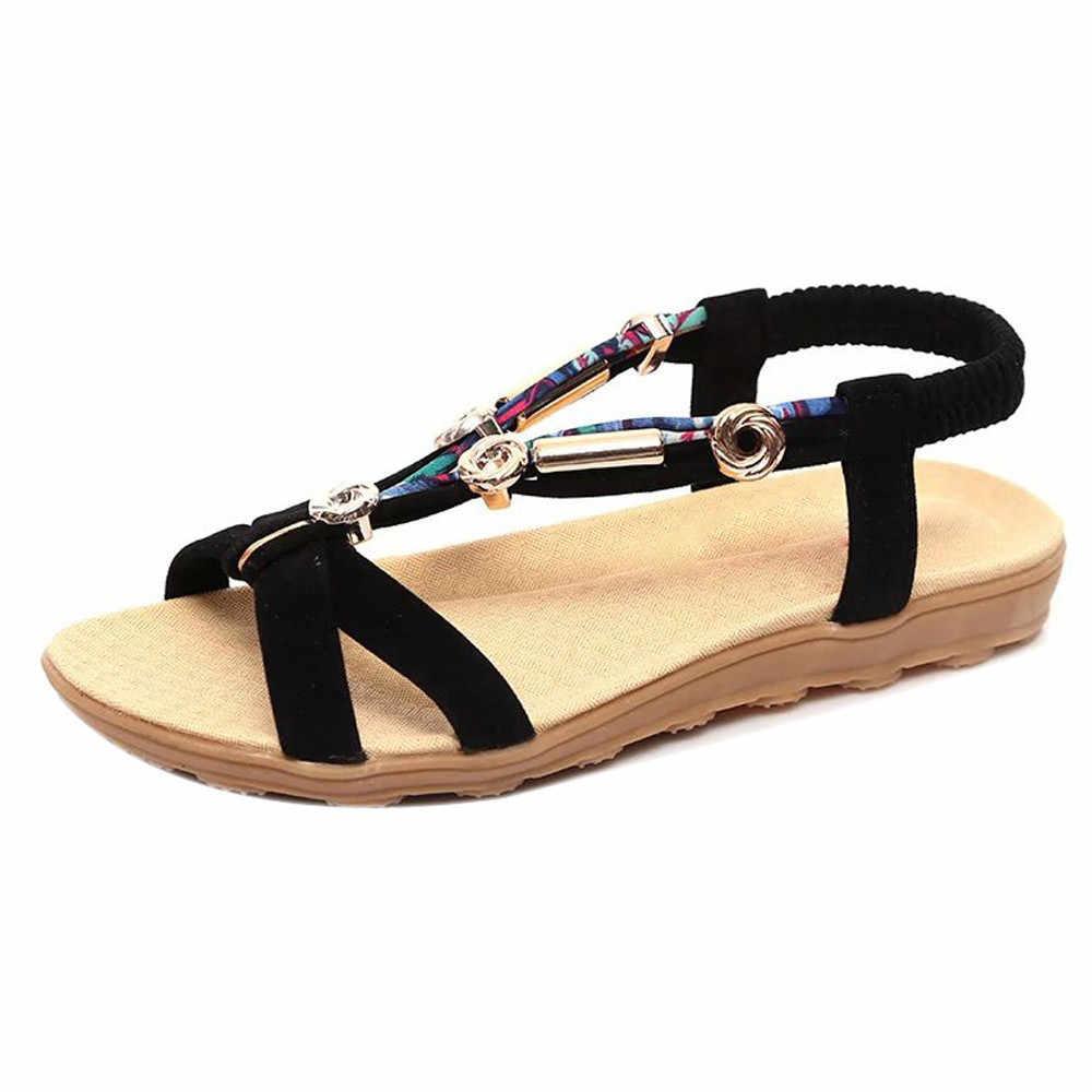 Sagace Sepatu Fashion Wanita Sandal Pantai Musim Panas Ikan Mulut Datar dengan Lace-Up Sandal Roma Wanita Kasual Sepatu 2020