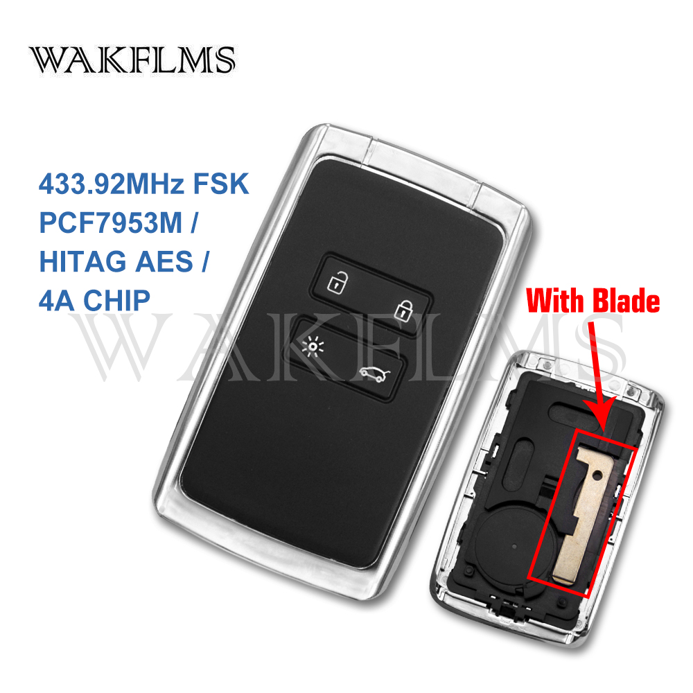 Брелок для смарт-ключей, 4 кнопки, 433 МГц, Hitag AES 4A