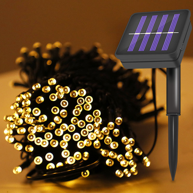12M LED Solar Powered Outdoor Decorative Ambiance Lights For Patio Lawn Garden Fence Balcony Party Holiday Christmas Decoration
