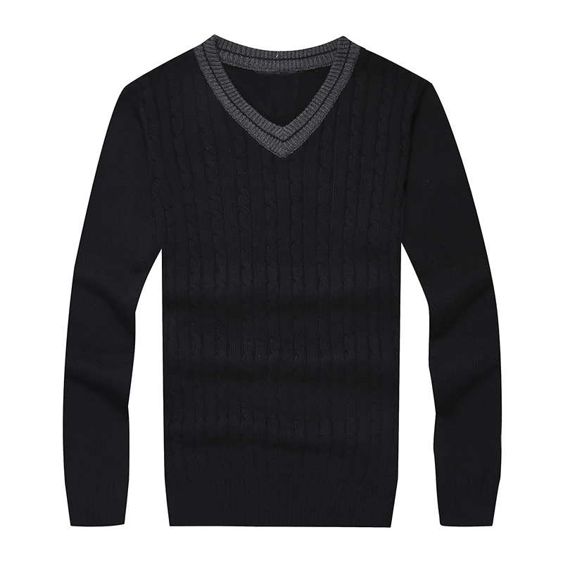 Men Small Pony V-neck 100%cotton Sweater Autumn Winter Jersey Jumper Hombre Pull Homme Hiver Pullover Men Knitted Sweaters