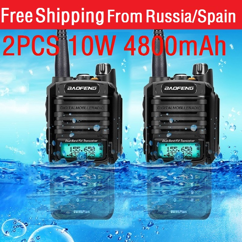 2020 novo 2 pçs 10w 4800mah baofeng UV-9R mais rádio em dois sentidos vhf uhf rádio cb portátil à prova dwaterproof água walkie talkie uv 9r mais