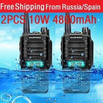 2020 new 2pcs 10W 4800mah BaoFeng UV-9R plus  two way radio VHF UHF portable cb Waterproof walkie talkie uv 9R - discount item  41% OFF Walkie Talkie