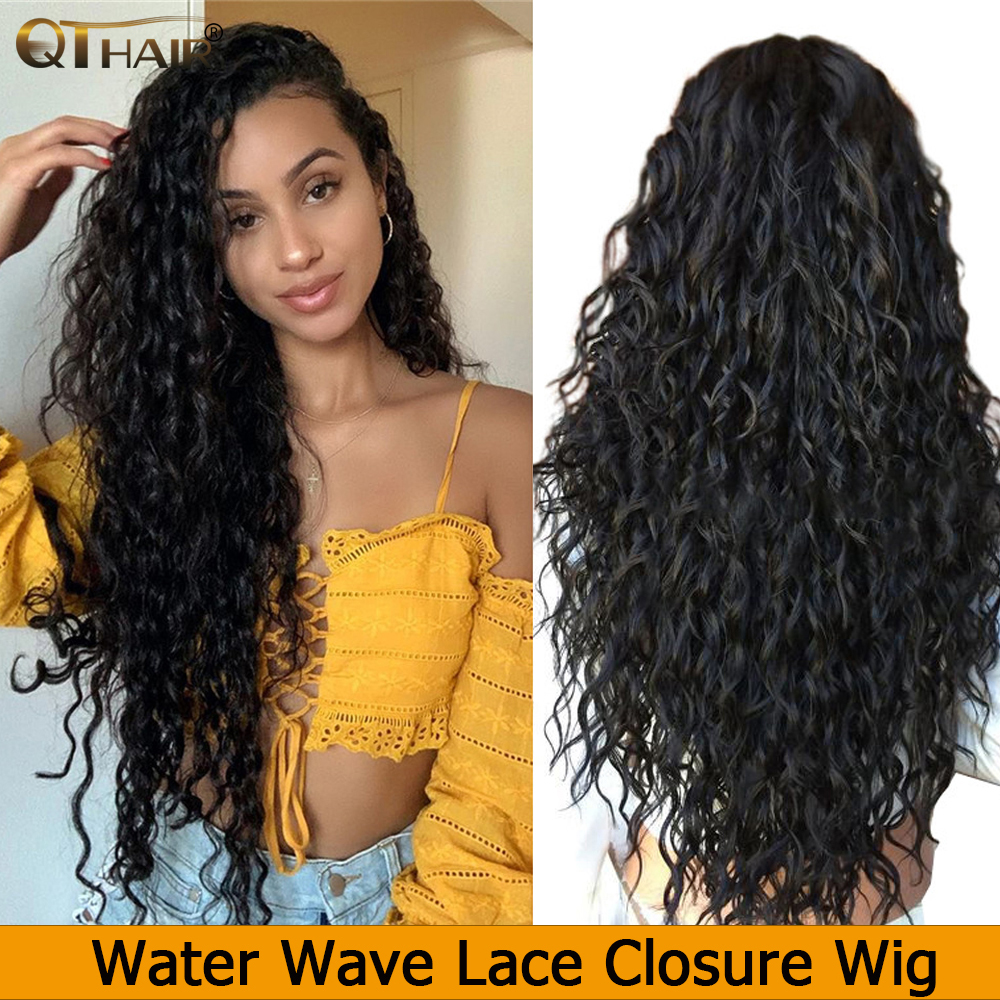 Brazilian Water Wave Wig Curly 13*4 Lace Front Human Hair Wigs Bob Long Deep Frontal 150%  4X4 Lace Closure Wig QT HD Full