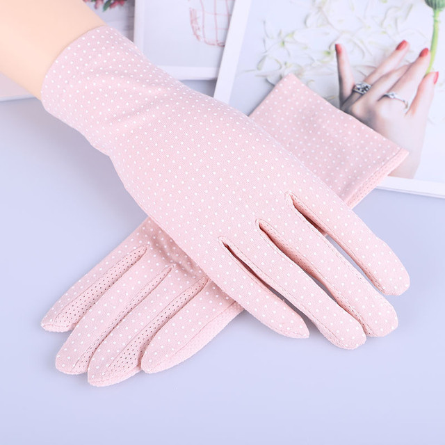 Howfits Spring Summer Driving Gloves Women Touch Screen Thin Cotton Gloves Lace UV Sun Against Non Slip Riding Car Gloves 2