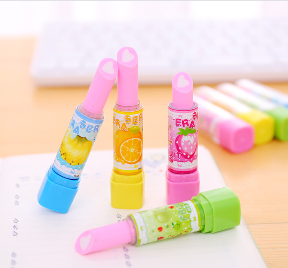 2pc Cute Fruit Lipstick Rotary Rubber Erasers For Girls Pencil Eraser Kids Gift Kawaii Stationery School Supplies Student Prizes