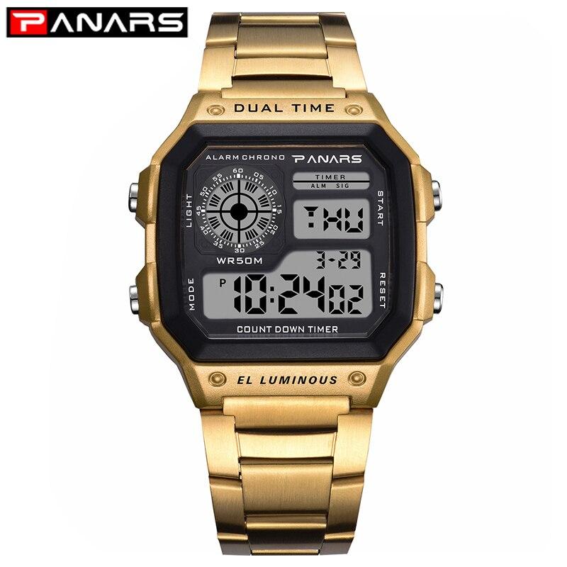 Panars relógio masculino esporte relógios digitais cronógrafo à prova dstainless água relógio de negócios inoxidável relógios de pulso masculino relogio masculino