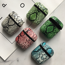 Genuine PU Leather Snake Skin Wireless Case For AirPods Bluetooth Earphone Protective Hard Cover Apple Air Pods