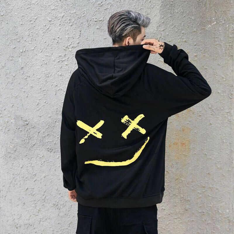 2019 nuevos 8 colores sudaderas con capucha para hombre sudaderas con capucha estampado de sonrisa Sudadera con capucha Hip Hop Streetwear ropa Tops talla grande 3XL