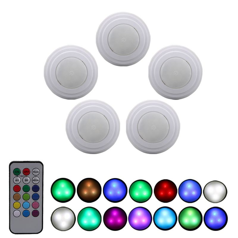 5 Packs Rgb Led Night Light With Remote Controller Battery Operated Closet For Kitchen Cordless Wall Lamp
