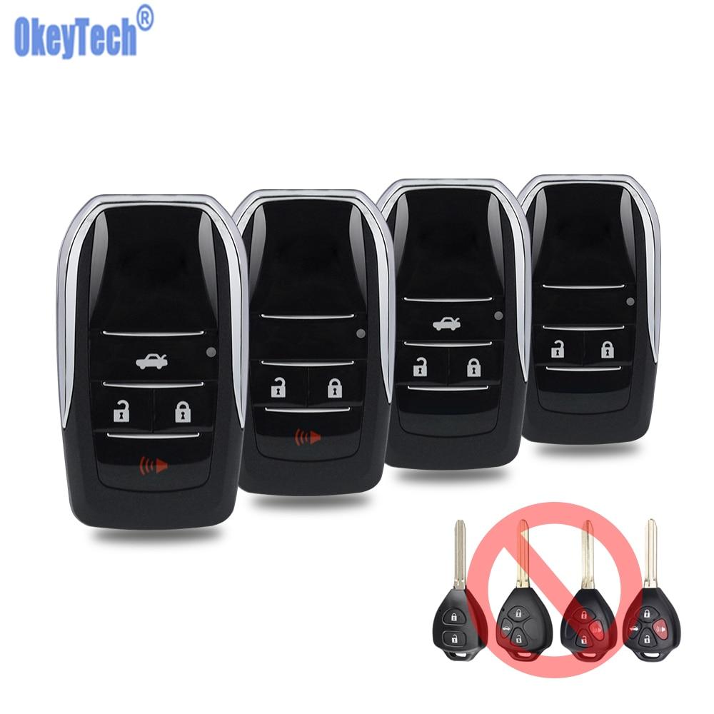 OkeyTech للطي الوجه البعيد مفتاح السيارة قذيفة لتويوتا كورولا RAV4 Toy43 استبدال مفتاح السيارة غطاء علبة فوب فارغة غير مصقول شفرة