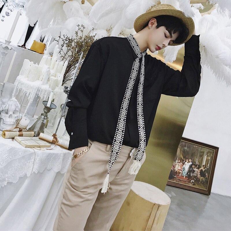 Printemps et automne personnalité rétro national vent cravate décoration hommes chemise à manches longues en vrac styliste jeunesse chemise marée