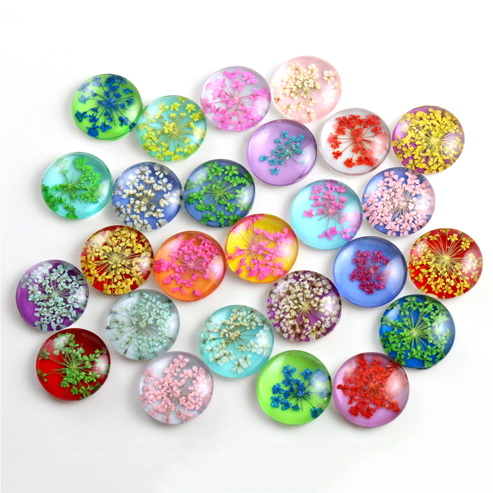 10pcs/lot 18mm Mixed Natural Dried Flowers Handmade Glass Cabochons Fit 18mm Earring Hooks Breacelet Cameo Setting Pendant-G5-30
