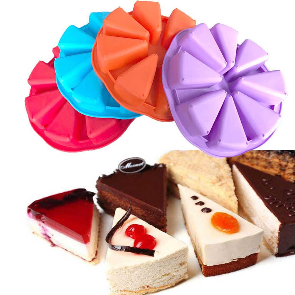 Pişirme tepsisi kalıp kek pan tepsi silikon kek kalıbı puding 8 delik üçgen kek kalıbı pişirme araçları Muffin pişirme jöle kek teneke