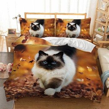 Denisroom 3D Cat and Dog Bedding Sets Cartoon Duvet Cover set twin king queen comforter sets Bedspreads DS81#