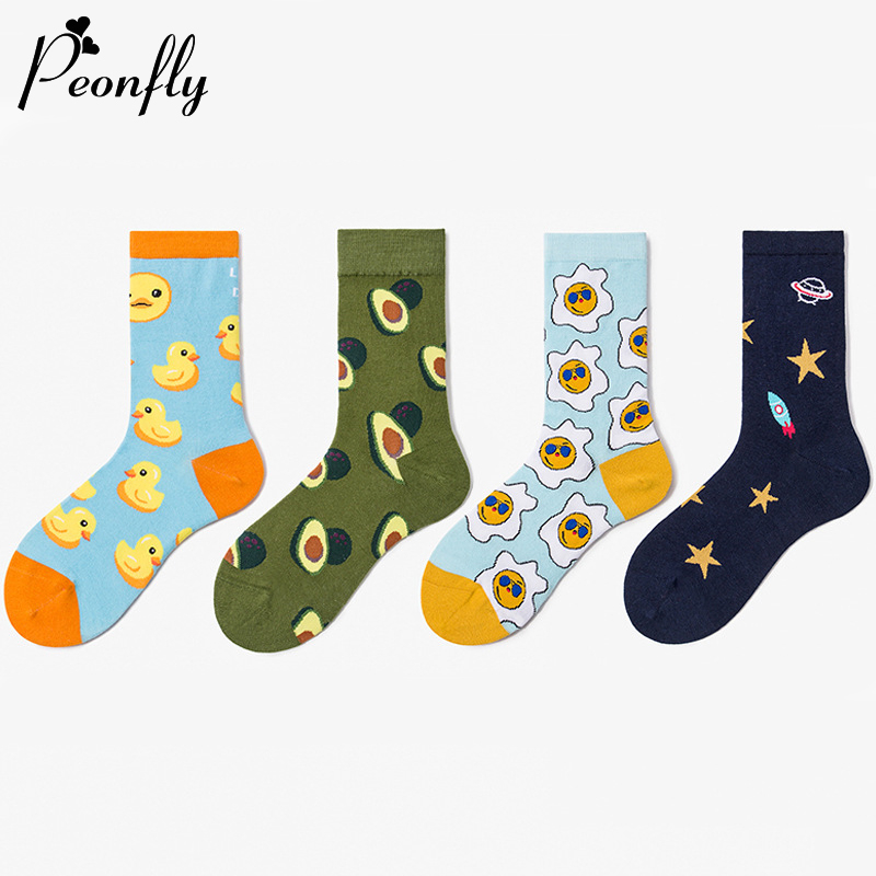 PEONFLY Cute Fashion Novelty 2020 Spring Cotton Women Socks Colorful Cartoon Avocado Duck Happy Kawaii Funny Socks For Girl Gift