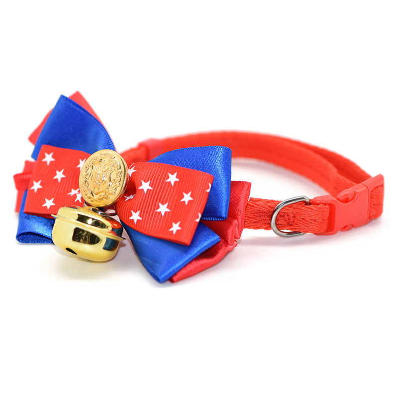 Pet Bow Neck Ring Teddy Small Dogs Large Bell Cat Neck Ring Traction Pet Dog Cat Bell Neck Ring