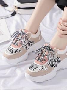 JSI Women Sneakers Platform Casual Flats Snake-Print Chunky Round-Toe Fashion Lace-Up