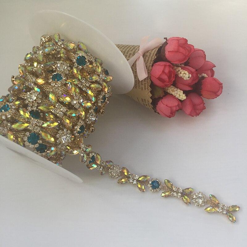 5/10Yards Crystal Rhinestone Trim Sewing Colorful Beaded Applique DIY Rhinestone Craft For Wedding Sash