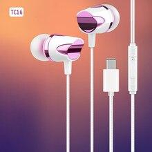 Tipo usb c fones de ouvido com fio lótus com microfone tipo c para huawei p30 p20 pro oneplus 6 + 7