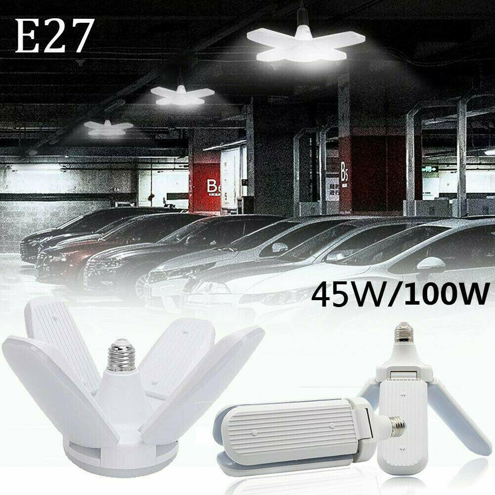 40W/100W E27 Deformable LED Garage Light Bulb Ceiling Fixture Lights Shop Workshop Lamp Aluminum White Bright Light