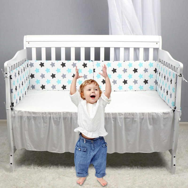 สีเทาสีฟ้าดาวการ์ตูนเด็กกันชนชุดผ้าฝ้ายพิมพ์ COT เด็กทารกกันชน in Crib Protector สำหรับ GIRL BOY unisex