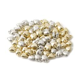 Sauvoo 100pcs/lot Heart Charm Pendant CCB Beads Gold Silver Color 10x8mm Spacer Beads for Jewelry Making DIY