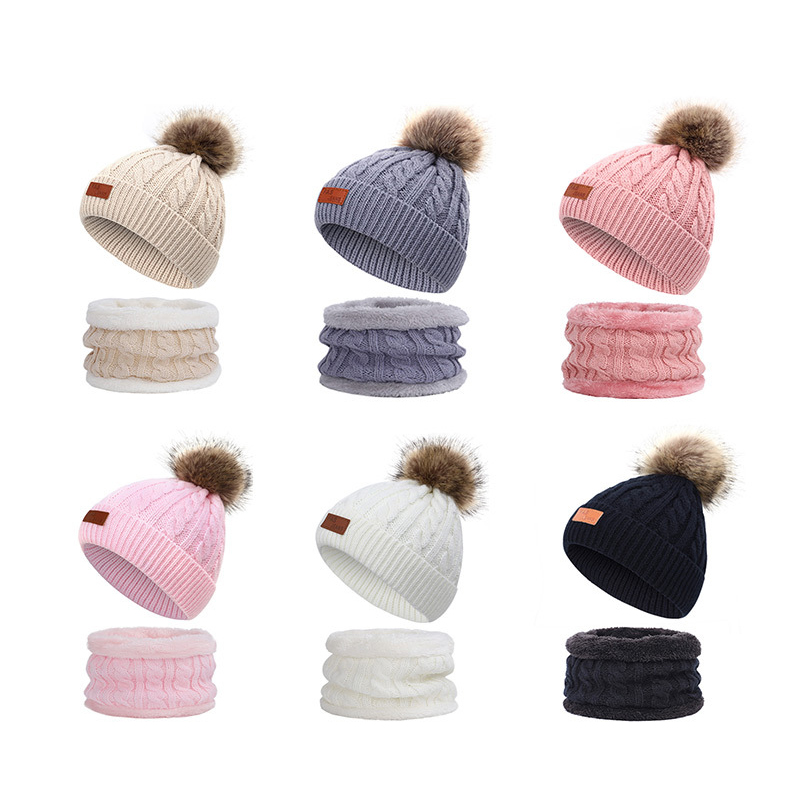 Infant Baby Boy Girl Knitted Bead Turban Hat Hair Band Beanie Headwear Cap Sets