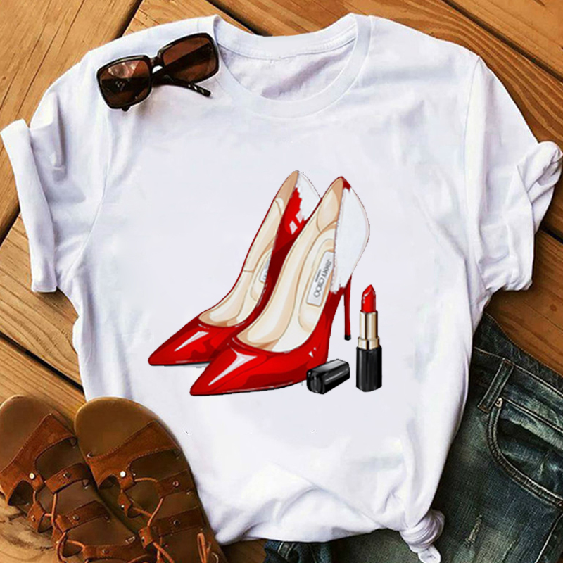 Red Lipstick T Shirt Women Perfumer Floral T-Shirts Girl Summer Shirt Lady Casual Sexy Lip T-shirt Gift For Girlfriend