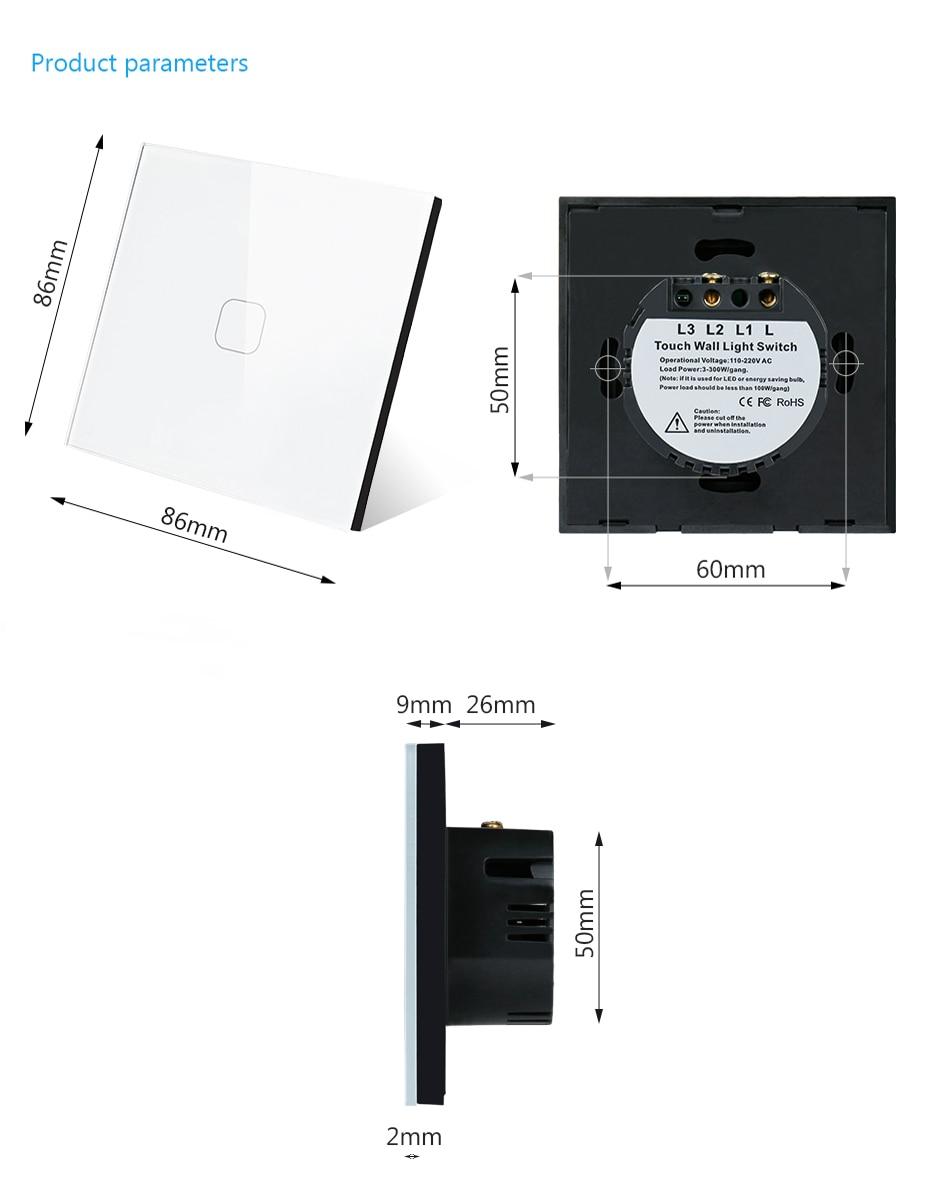 Minitiger Luxury Wall Touch Sensor Switch EU/UK Standard Light Gray Crystal Glass Touch Switch Power 1/2/3 Gang 1 Way AC 220 6