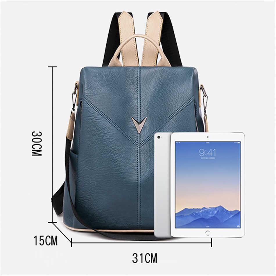 Sac à dos femme marque 2019 nouvelle mode tendance sauvage qualité dame en cuir souple grande capacité voyage décontracté anti-vol sac à dos