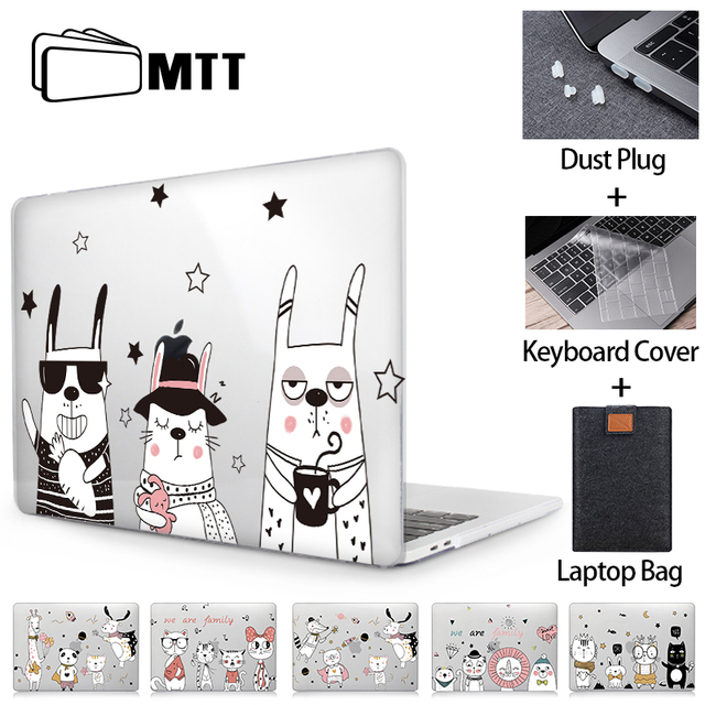 MTT 귀여운 만화 케이스 맥북 에어 프로 레티 나 11 12 13 15 16 터치 바 크리스탈 커버 맥북 에어 13 노트북 슬리브 a2251