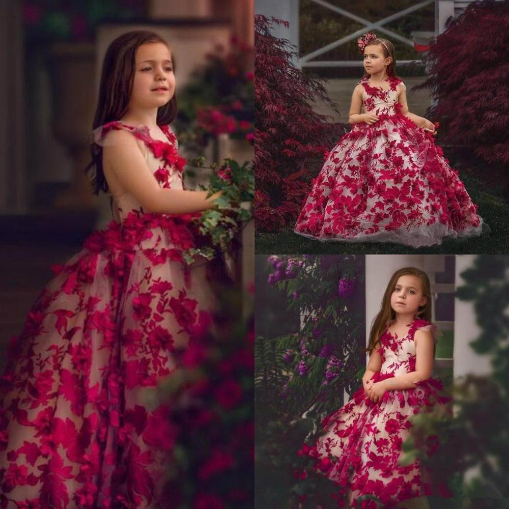 2020 Lovely Red Ball Gown Flower Girl Dresses With 3D Floral Appliques Tulle Todder Girls Pageant Dress Custom Made Formal Wear