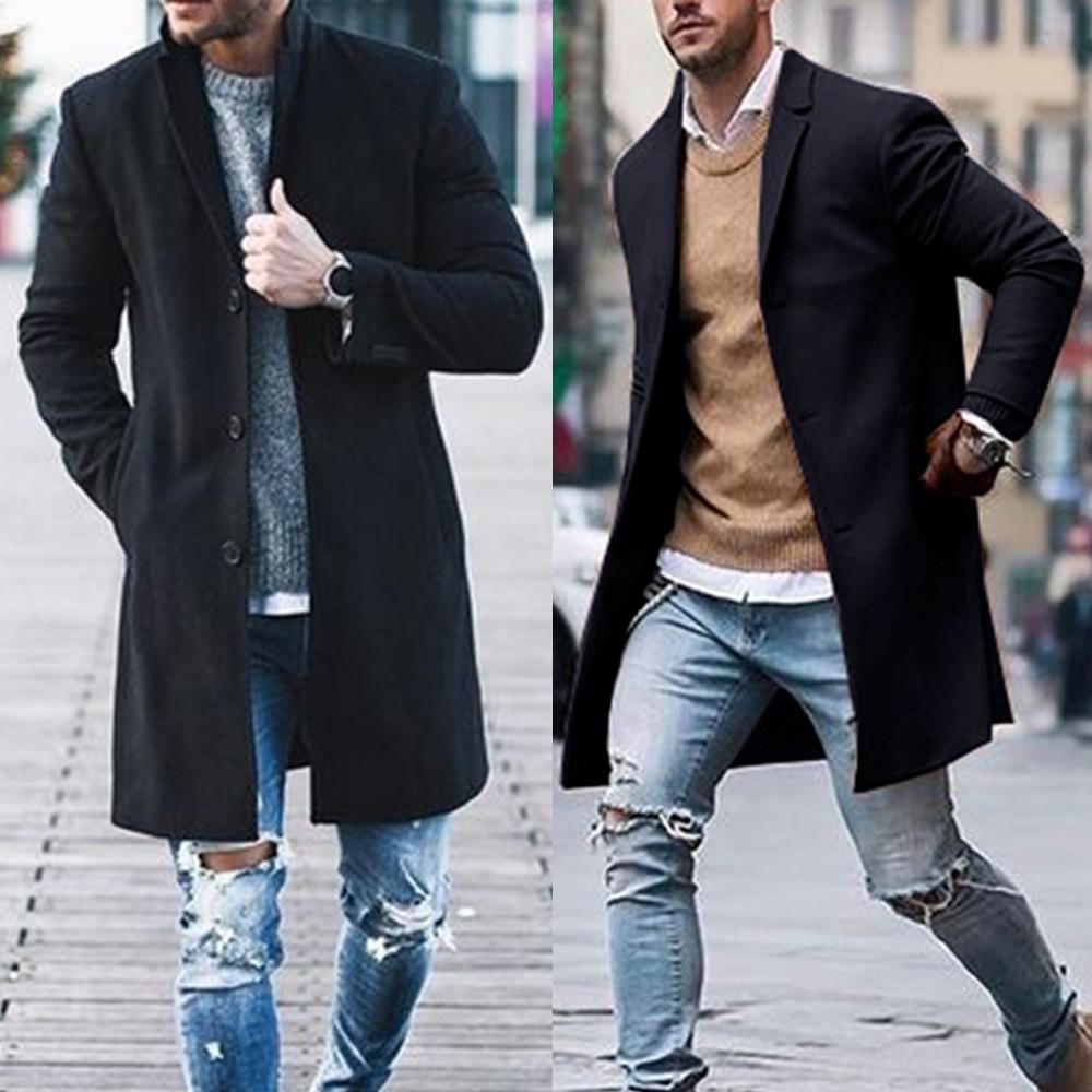 CHANWELL 2019 Winter Men Long Coat Long Sleeve Casual Blazers Jackets Warm Plus Size Casaco Masculino Streetwear Abrigo Hombre