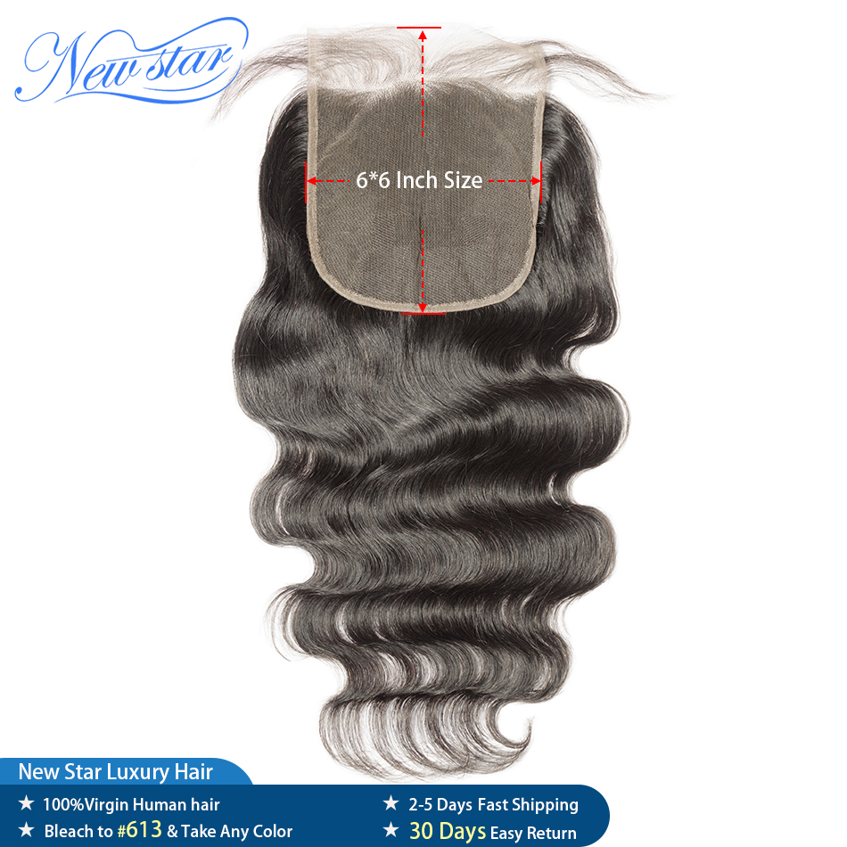 Lace Closure Virgin-Hair 6x6 Natural-Hairline Body-Wave Brazilian 10A New Star with Grage