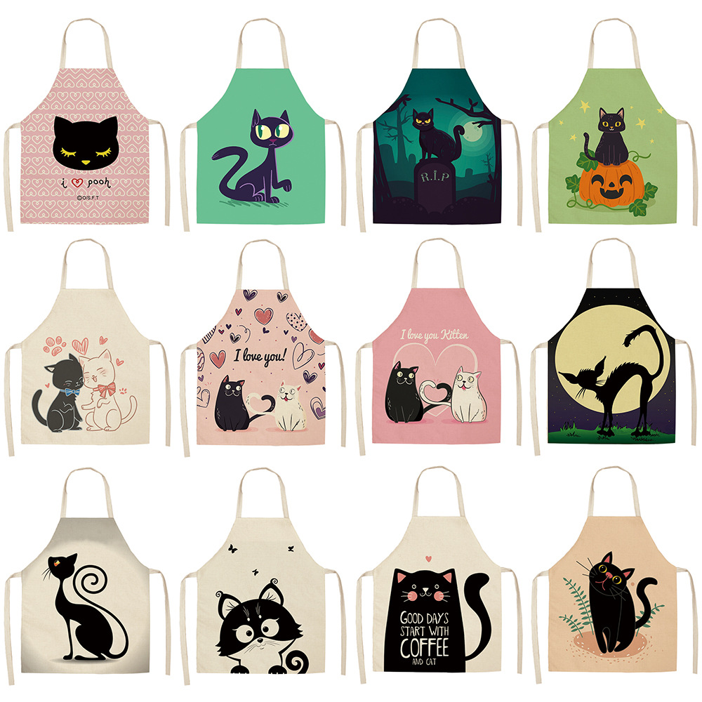 21 Patterns Cute Cartoon Cat Linen Apron Kids Family Game Diy Sleeveless Aprons Home Household Kitchen Apron for Women Washable