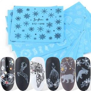 16pcs Black White Lace Xmas Nail Stickers For Manicure Snowflake Flower Elk Nail Design Water Transfer Slider SASTZ1098-1113-1