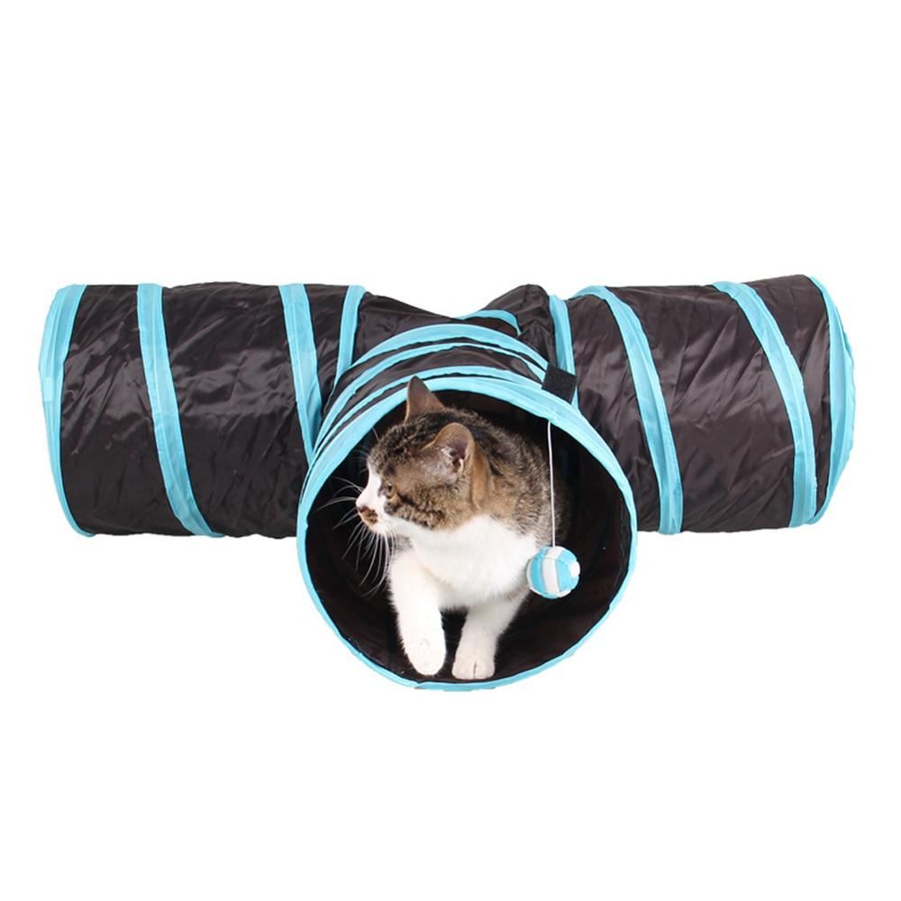 Funny Pet Cat Tunnel 3 Holes Play Tubes Balls Collapsible Crinkle Kitten Toys Puppy Ferrets Rabbit Play Dog Tunnel Tubes image