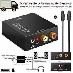 Protable 3.5mm jack coaxial fibra óptica digital para áudio analógico aux rca l/r conversor spdif áudio digital decodificador amplificador