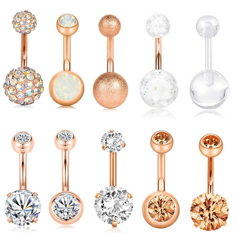 TIANCIFBYJS 1-10pcs 14G Surgical Steel Belly Button Ring Navel Ear Rings CZ Body Piercing Jewelry 10 mm Bar For Women Nombril