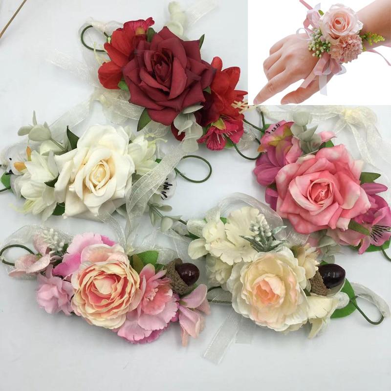 Bridal Wrist Flower Wedding Artificial Flower Simulation Bridesmaid Sister Group Beautiful Fresh Hand Flower Wedding Supplies