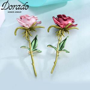 Dorado Flower-Brooches Clothing Wedding-Jewelry Rose Pink Sweet Fashion Accesorios Women