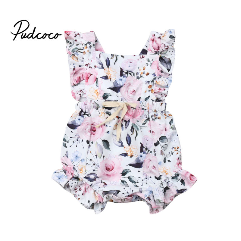 Pudcoco 2019 Fashion Cute Toddler Kids Baby Girl Flower Ruffle Romper Bow Bandage Floral Summer White Lace-up Jumpsuit Clothes