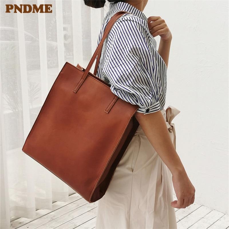 PNDME fashion crazy horse cowhide simple ladies tote bag vintage  genuine leather handbags holdall womens shoulder shopping bag  -