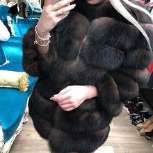New Women Winter Luxury Blue Fox Fur Coat Whole Skin Natural Real Thick Warm Top Quality Handmade Clothing