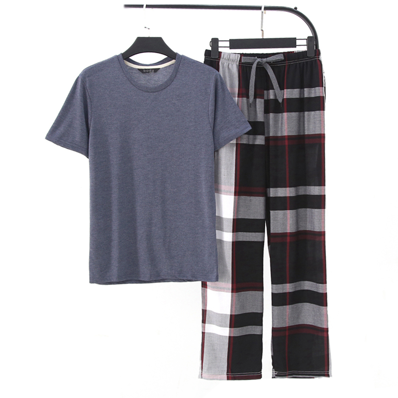 New Summer Cozy 100% Cotton Pajama Sets Men Short Sleeves Trousers Sleepwear Mens Casual Pyjamas
