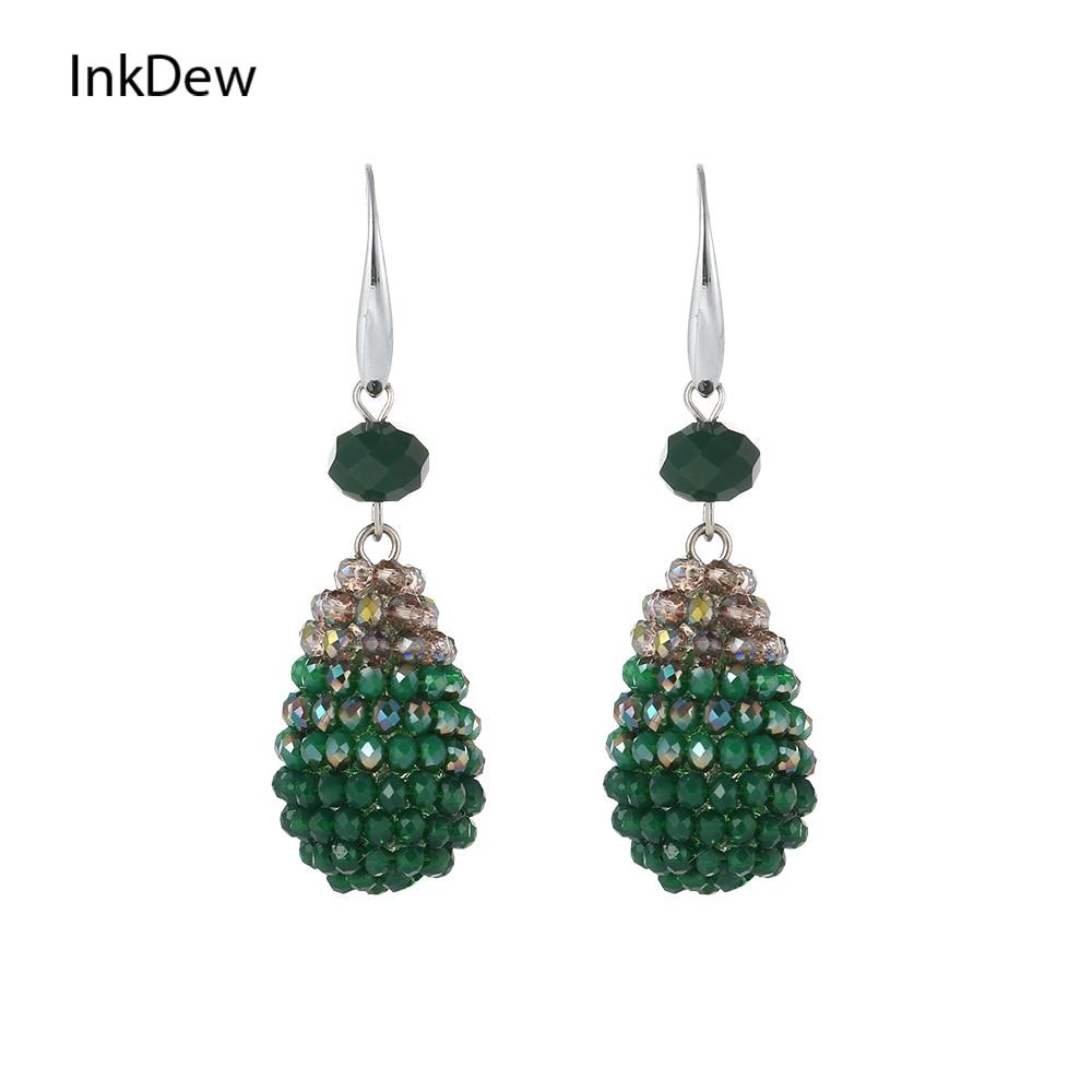 Женские яркие серьги-капельки INKDEW, модные длинные серьги ручной работы, Украшенные бусинами и кристаллами, подарочные серьги