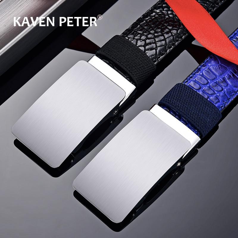 Cinturón de cuero sintético con hebilla automática para hombre, cinturón de cuero sintético con hebilla de Metal automática, sin dientes