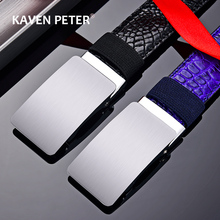 Famous Brand Male Automatic Buckle Belt Without Tooth Genuine Luxury Pu Leather Belts for Men Strap Metal Automatic Buckle