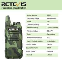 מכשיר הקשר 2pcs RETEVIS RT22 מקצועי Handy מכשיר הקשר מיני FRS VOX USB Charge UHF שני הדרך רדיו Comunicador משדר Woki טוקי (5)